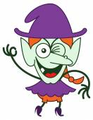 Green witch in minimalist style with long red hair and big nose wearing a huge purple hat while winking and making an OK sign with her hand