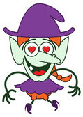 Funny green witch in minimalist style with long red hair and big nose wearing a huge purple hat while smiling enthusiastically and showing that he is madly in love