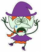 Cute green witch in minimalist style with long red hair and big nose wearing a huge purple hat clenching her eyes crying bitterly and showing a very sad mood