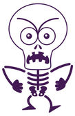 Brave white and purple bony skeleton in minimalist style with big skull while clenching his fists protesting and showing an angry mood