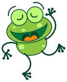 Green frog dancing