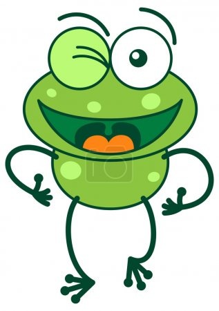 Illustration for Cute green frog while raising a leg, winking and waving enthusiastically - Royalty Free Image