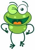 Green frog waving enthusiastically