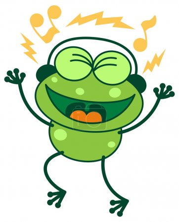 Frog listening to music