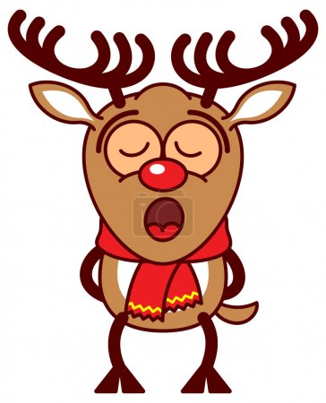Illustration for Adorable reindeer with big antlers, red nose and wearing a red scarf while standing straight, putting its arms behind its body and singing totally concentrated, inspired by the sweetness of Christmas - Royalty Free Image
