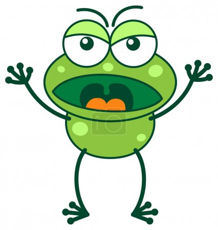 Green frog yelling in a very irritated mood