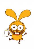 Bunny holding a glass of frothy beer