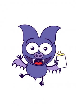 Purple bat holding a glass of beer