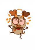 Cute brown dog in minimalistic style with big hanging ears and pointy tail while wearing earphones clenching its bulging eyes listening to music smiling generously and dancing animatedly