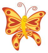 Cute red and yellow butterfly with long curly antennae and beautiful wings decorated with balls and hearts while floating and smiling animatedly
