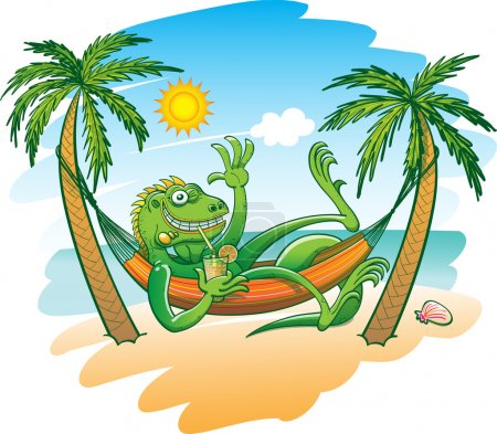 Green iguana resting in a hammock