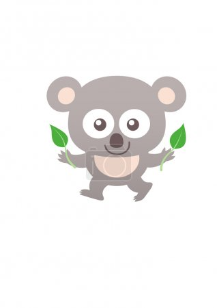 Cute baby koala with  two leaves of eucalyptus
