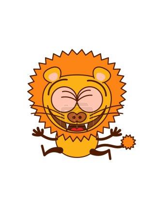 Cute lion celebrating something