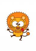 Cute lion in minimalistic style with rounded ears bulging eyes sharp teeth and long tufted tail while raising it's arms crossing its bulging eyes sticking it's tongue out and making funny faces