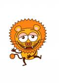 Cute lion in minimalistic style with rounded ears bulging eyes sharp teeth and long tufted tail while having fun and laughing animatedly