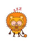 Cute lion sleeping placidly