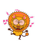 Cute lion in minimalistic style with rounded ears bulging eyes sharp teeth and tufted tail while wearing earphones clenching its eyes listening to music smiling generously and dancing animatedly