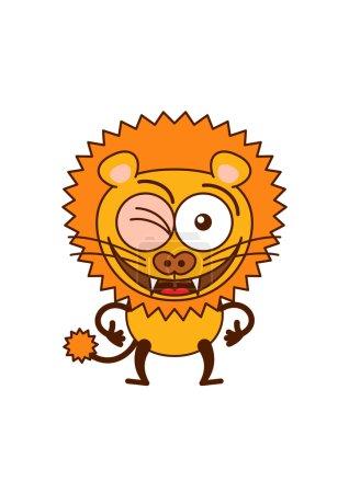 Cute lion winking