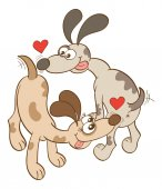 Enthusiastic dogs with bulging eyes big noses and long ears while wagging their tails sticking their tongues out showing red hearts and falling irremediably in love by sniffing their butts