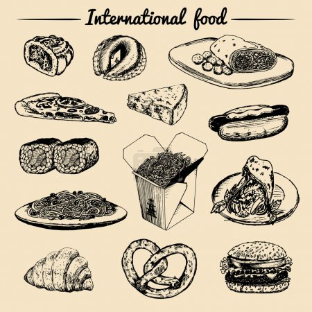 Illustration for Vector international food menu. International food illustration. Vector menu sketches. Hand drawn international food menu - Royalty Free Image