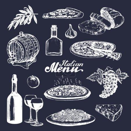 Photo pour Ensemble de cuisine italienne. Menu italien esquissé à la main. Ensemble vectoriel d'éléments de menu italiens dessinés à la main. Vecteur esquissé à la main traditionnelle italienne de la nourriture et des boissons à l'encre - image libre de droit