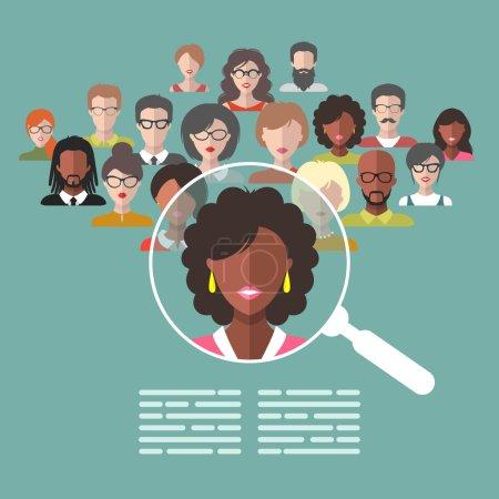 Illustration pour Concept vectoriel de gestion des ressources humaines, recherche de personnel professionnel, travail de chasseur de tête avec loupe. Illustration des ressources humaines en style plat - image libre de droit