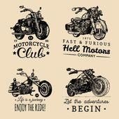 Choppers and motorcycles logos set