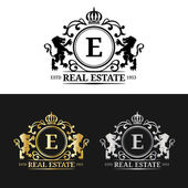 Vector real estate monograms logos templates Luxury real estate monograms design Graceful vintage monograms of royal property Calligraphic monograms royalty real estate