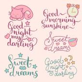 set of night letterings phrases
