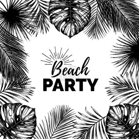 Illustration pour Illustration vectorielle vintage de fête de plage. Feuilles de palmier exotiques fond. Affiche de feuillage jungle esquissée à la main. Cadre de plantes tropicales. Bannière typographique d'été . - image libre de droit