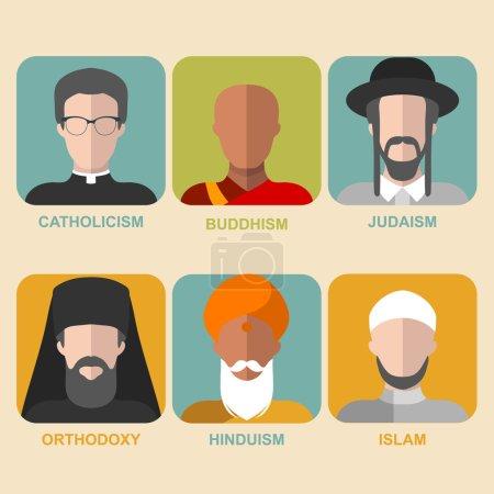 Photo pour Ensemble vectoriel de confessions différentes. Les gens de religion différente dans les vêtements traditionnels dans le style plat à la mode. Islam, judaïsme, bouddhisme, orthodoxe, catholique, icônes de l'hindouisme - image libre de droit