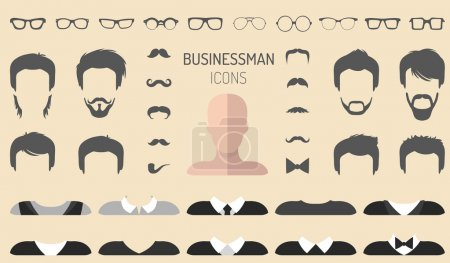 Illustration for Big vector set of dress up constructor with different businessman glasses, beard, mustache, wear in trendy flat style. Flat man faces icon creator - Royalty Free Image