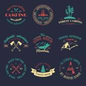 Vector set of vintage camping logo Retro logotypes collection of outdoor adventures with Indian elements