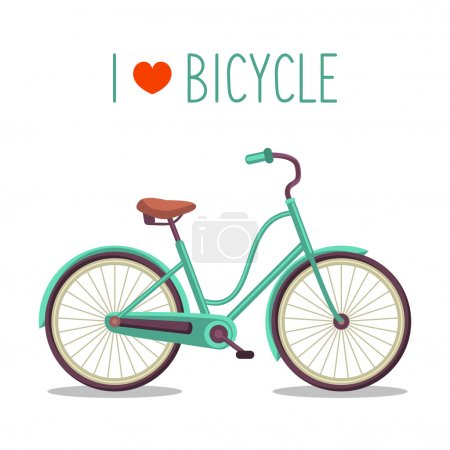 Illustration for Vector illustration of urban hipster bicycle in trendy flat style with text I Love Bicycle - Royalty Free Image