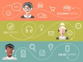 Vector set of call center customer service online support banners in trendy flat style