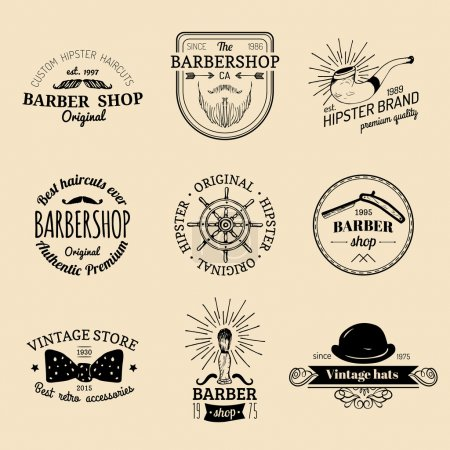 Illustration for Vector set of vintage hipster logo. Retro logotypes collection of vintage barber shop - Royalty Free Image