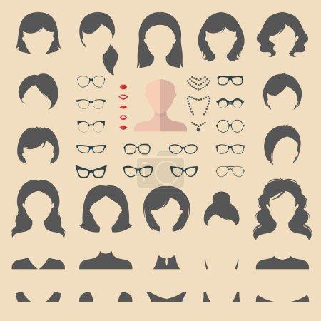 Illustration pour Grand ensemble vectoriel d'habiller constructeur avec différentes coupes de cheveux de femme, lunettes, lèvres, usure, bijoux dans un style plat à la mode. Créateur d'icône de visages plats - image libre de droit
