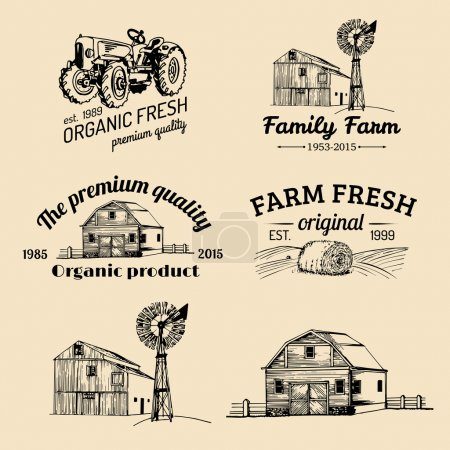 Illustration for Vector retro set of farm fresh logotypes. Vintage farm logo collection - Royalty Free Image