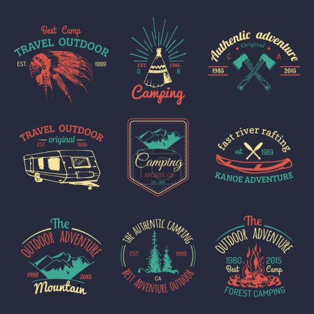 Illustration for Vector set of vintage camping logo. Retro logotypes collection of outdoor adventures - Royalty Free Image