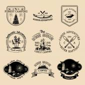 Vector set of vintage camping logo Retro logotypes collection of outdoor adventures
