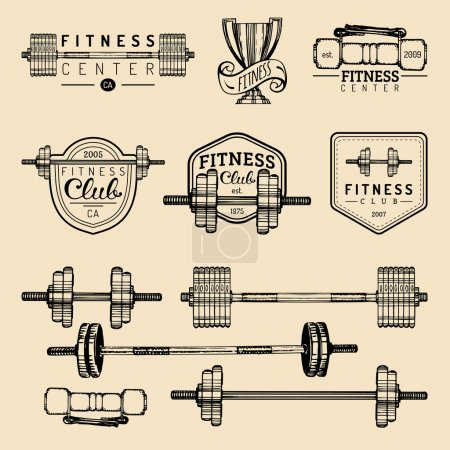 Fitness gym elements set.