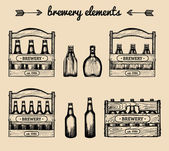 set of vintage brewery logo