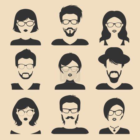 Illustration pour Ensemble de différentes icônes masculines et féminines dans un style plat à la mode. Icône visages plats - image libre de droit