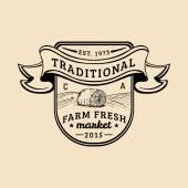 retro farm fresh logotype