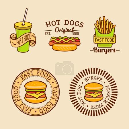 Illustration pour Ensemble de logo de restauration rapide vintage vectoriel. Collection de logotypes alimentaires rétro - image libre de droit