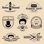 Set of vintage hipster barbershop logos