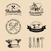 Set of hand sketched blacksmith logo