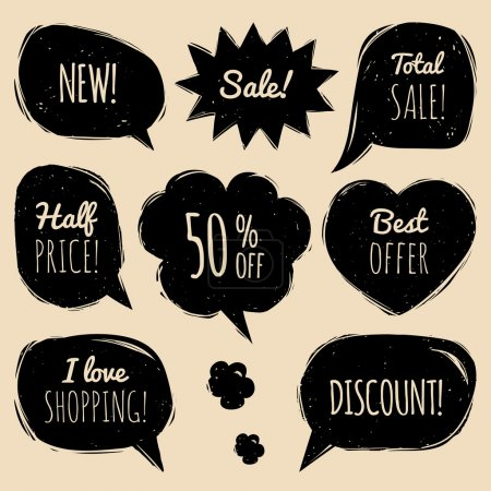 Illustration for Vector set of comic sale speech bubbles in trendy flat style. Shopping phrases in speech bubbles: New, Sale, Half price,discount, I love shopping, Best offer, Total Sale - Royalty Free Image
