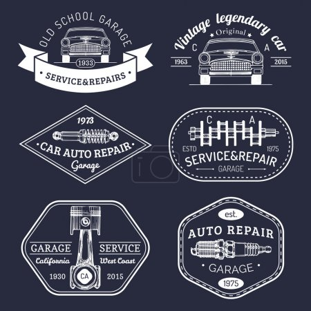 Retro auto repair logotypes collection.