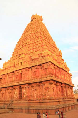 Photo for Stunning Brihadeshwara Temple and grounds, the gopuram of the main entrance is 30 m high, The massive size of the main Vimanam (Shikhara) is 60.96 meters high, with 16 elaborately articulated stories, and dominates the main quadrangle, .The complex i - Royalty Free Image
